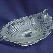 Oval Elegant Depression Glass Compote with Frosted and Clear Design