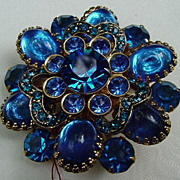 Vintage Costume Blue Stone Pin, Cabs and Faceted Stones