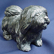 Heavy Black Metal Shih Tzu  Dog Figure
