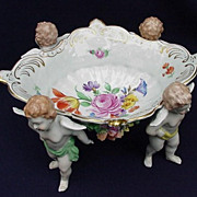 Beautiful Dresden Porcelain Compote Supported by Putti