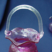 Vintage Cranberry Glass Basket with Applied, Frosted Handle