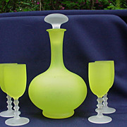 Vintage Decanter and Four Wine Glasses, Yellow with Frosted Elements