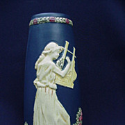 Weller, Blue Ware Vase, Maiden Playing an Instrument