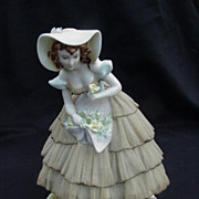 Vintage Porcelain Figurine, Lace Dress, 1950s