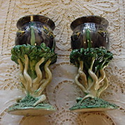 Pair of Antique Majolica Palissy Pots, Butterflies, Tree Roots