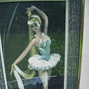 Mid-Century Framed Print of Toe Dancer, Ballet Elegant