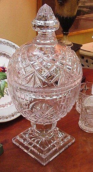 Fabulous Clear Crystal Cut Glass Compote w Lid, Pedestal Base