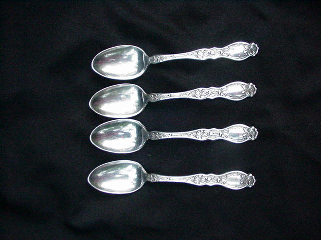 Four Silverplated, Floral Decorated Demitasse Spoons, The Adams Mfg. Co.