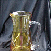 Golden Amber Pitcher w Applied Clear Crystal Handle