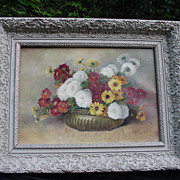 Vintage Oil, 20th C. Florida Artist, Amelia Darr, Floral Still Life