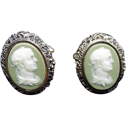 Dante Incolay Vintage Cuff Links, Caesar's Head