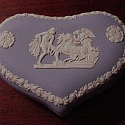 Wedgwood Jasperware Blue Heart Trinket Box, Ulysses Staying the Chariot of Victory