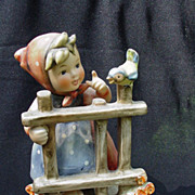 Hummel Figurine, Girl at Gate with Blue Bird