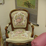 Vintage French Style Arm Chair w Carved Floral Elements on Framing