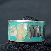 Vintage Mexico .925 Ring w Turquoise Enamel Inset with Abalone Shell