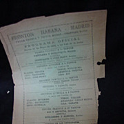 1930s Program for Jai Alai Game in Havana, Cuba