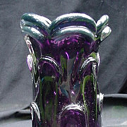 Vintage Amethyst and Clear Art Glass Vase, Pulled Sides