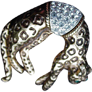 Leopard Pin, Pave Rhinestone Saddle, Tail Moves