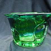 Kosta  Green Art Glass Vase, Bulls Eye Decoration, Signed Warff