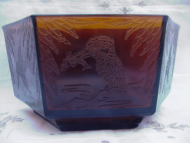 Unusual Six-Sided Amber Pressed Glass Bowl, Kingfisher Bird, Centipede Mark