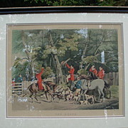 "Alkin English Hunting Scene Print, ""The Death"", Hand-Colored Print"