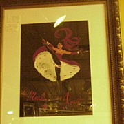 Watercolor on Artist's Paper, 50s Moulin Rouge Dancer, Artist Signed