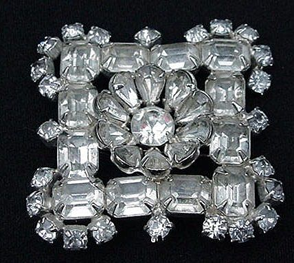 Big, Bold Rhinestone Block Square Pin w Center Star, Vintage Estate Find