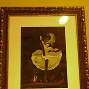 1950's Watercolor, Moulin Rouge Dancer, Artist Signed