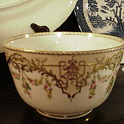Early Copeland Bowl, Gold, Geometrics, Florals--Fabulous