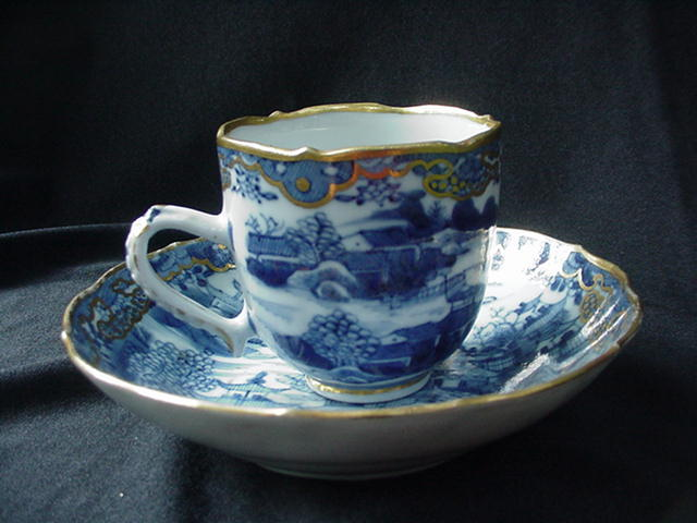 19th C. Cup and Saucer, Oriental Scenic w Gold Decoration