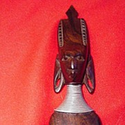 Carved African Head, Wood & Metal, Elongated Earlobes, Neck Rings