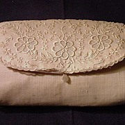 SALE Vintage Clutch Purse, Embroidered Organdy