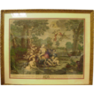 Hand-Colored French Engraving, Based on Oil by Antoine Coypel, of Renaud and Armide