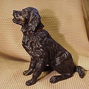 Handsome Bronze Dog, Black Lab Clenching a Gold Metal Bone