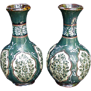 Pair Royal Doulton Lambeth Vases, Slaters Patent, Stoneware