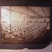 1900s B&W Photo, Prison or Work House Dining Hall