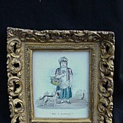 19th C. Print, English Lass & Dog