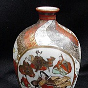 Exquisite Small Kutani Vase w Four Hand-Painted Reserve Scenes