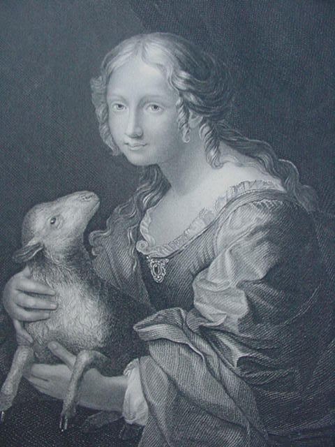Engraving of Innocence w Lamb, Italian Artist, Carlo Dolci