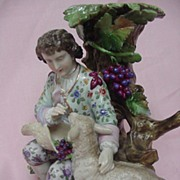 19th Century German Porcelain Candlestick, Boy with Sheep, Triebner, Ens & Eckert