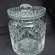 Waterford  Biscuit Barrel, Etched Silhouette of Bing Crosby