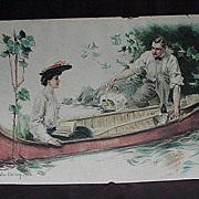 Howard Chandler Christie Print of Courting Couple Canoeing