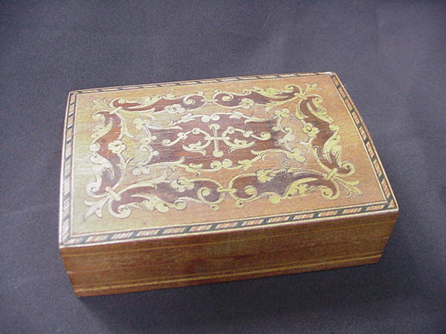 Inlaid Wood Veneer Box, String Inlay, Dolphin Motif, Birds, Floral Flourishes