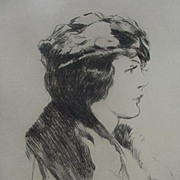Etching of a Woman by Philip Leslie Hale, American Artist, 1928