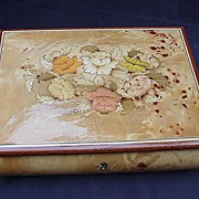 Large Swiss Movement, Reuge Music Box, Inlaid Flowers, Italy