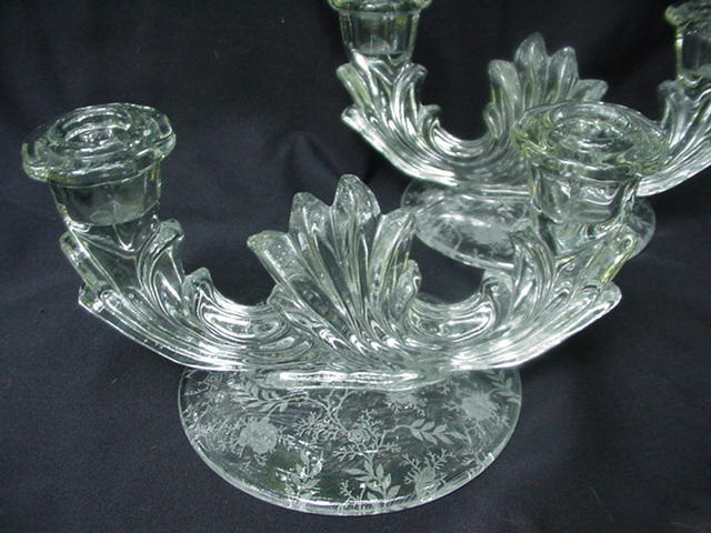 Clear elegant glass baroque double candlesticks w etched for Clear baroque glass