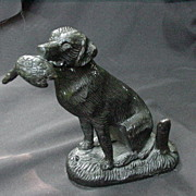 Vintage Bronze Retriever Dog w Bird in Mouth