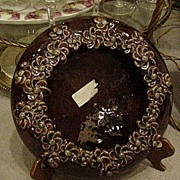 Royal Haeger Centerpiece Bowl, Floral Rim, Rich Brown Glaze