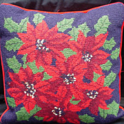 Vintage Needlepoint Pillow with Blue Background, Red Poinsettias