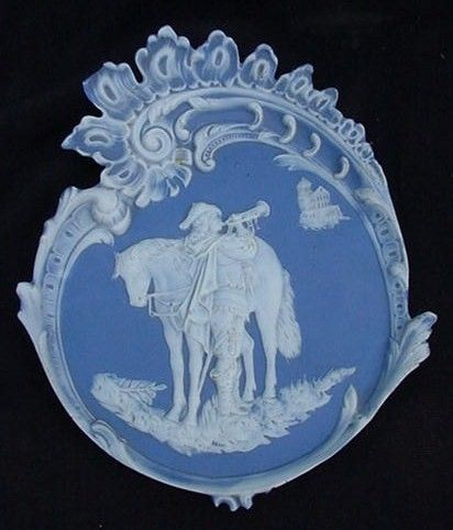Outstanding Jasperware Plaque, Cavalier and His Horse, Blue Background